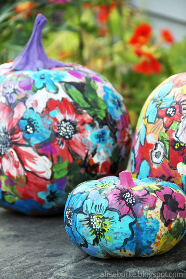 Alisaburke finger painted pumpkins Flower painted pumpkins