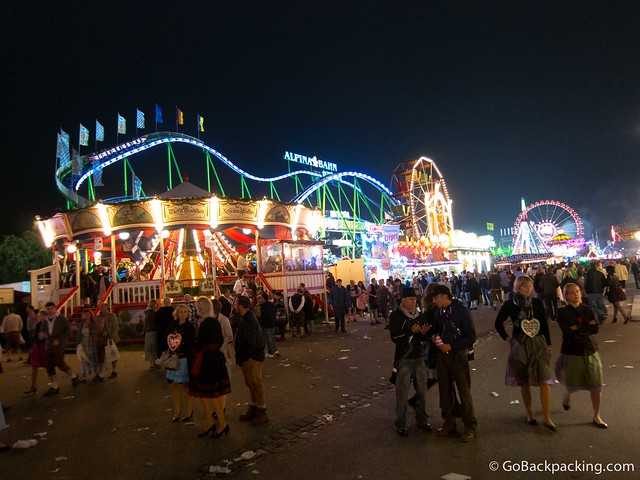Amusement park rides are a popular draw, all day and night