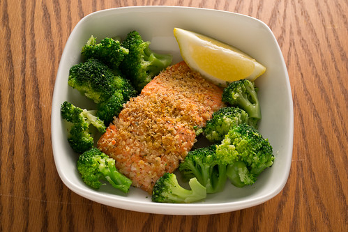 Breaded Salmon with Broccoli