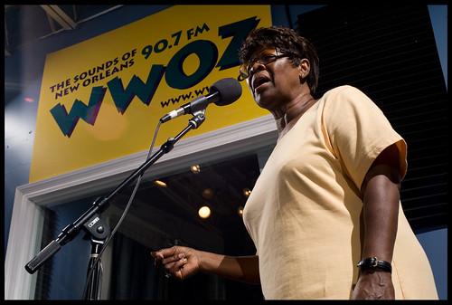 Irma Thomas sings for WWOZ!  rhrphoto.com