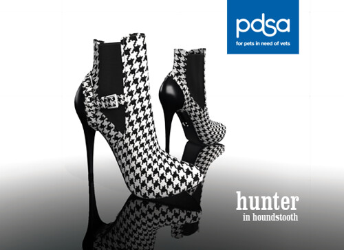 Hunter Ankle Boots in Houndstooth