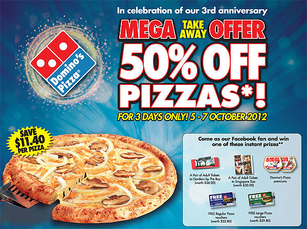 50% off pizzas!
