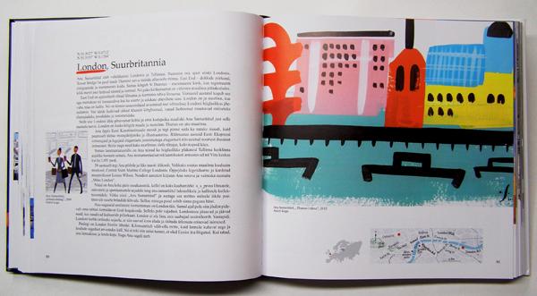 """Aavo Kokk book """"Pintsliga tõmmatud linnad"""", Anu Samarüütel painting"""