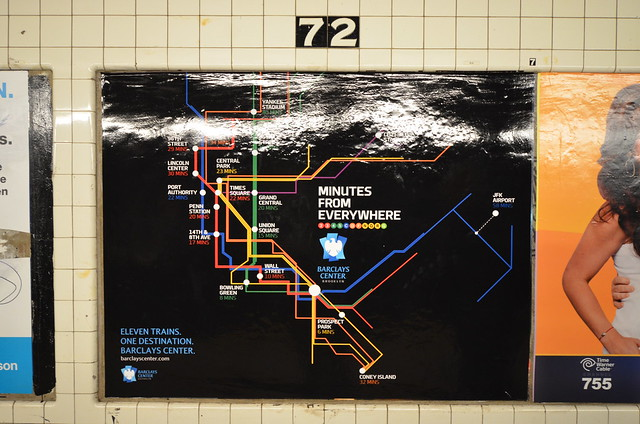 Subway ad with map to Barclays Center in Brooklyn