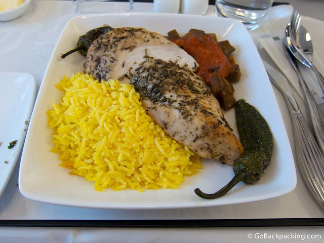 Chicken breast with arabic style mixed vegetables and saffron rice