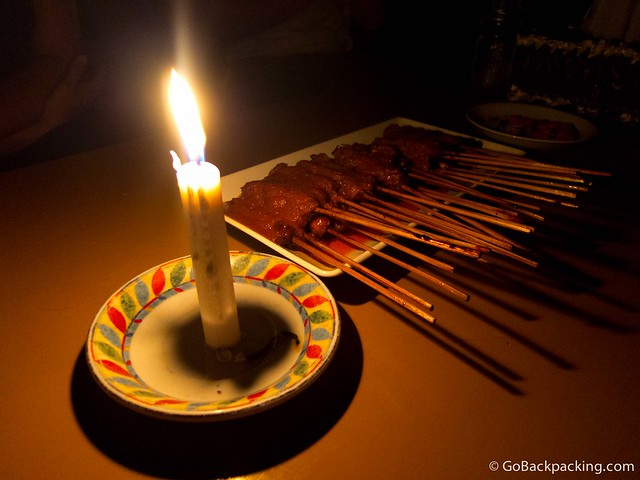 Chicken satay by candlelight