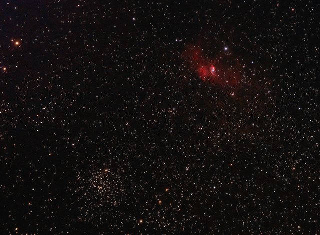 The Bubble Nebula and M52 in Cassiopeia 3 September 2012