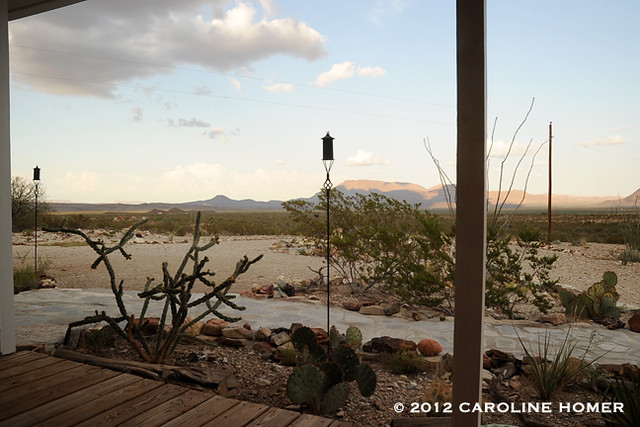 Front porch at dusk, Terlingua, Texas