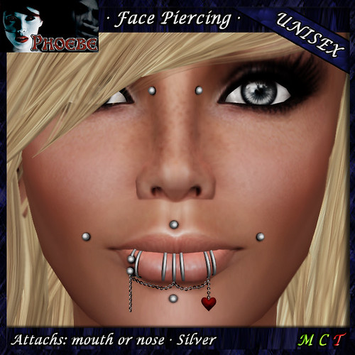P My Heart Unisex Face Piercing ~Silver~