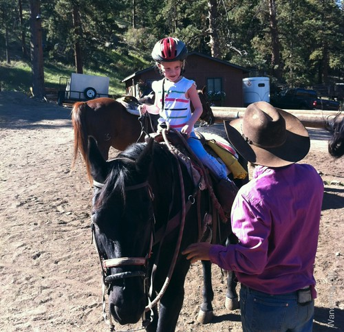 E and Shadow the horse. Estes Park, CO