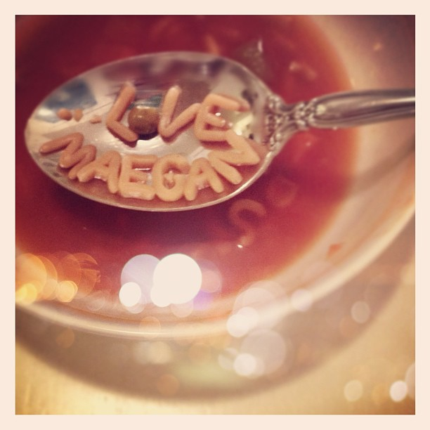 Playing with my food... & yes, I had alphabet soup for dinner ❤ #nojudgement