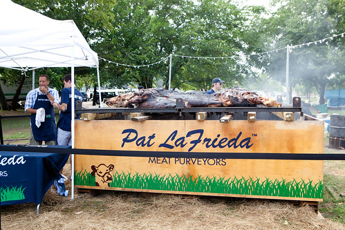 Pat LaFrieda (far left) and his 1,000-pound steer smoking