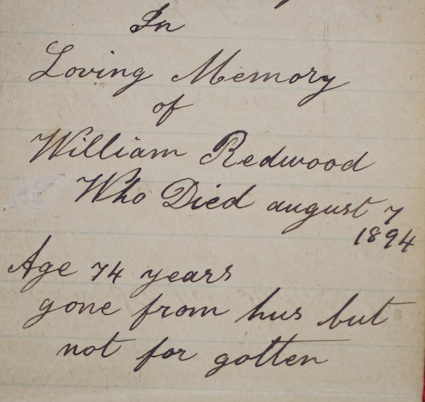 Edward Davidson notebook re William Redwood's death