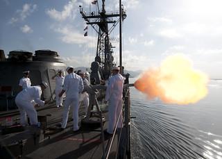 USS Underwood arrives in Port of Spain.