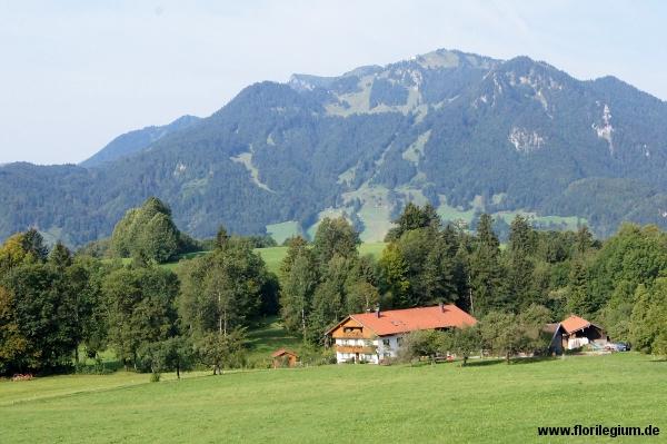 Lenggries, Mühlbach, Blick über das Isartal in Richtung Brauneck