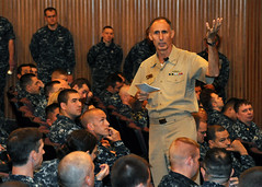 Chief of Naval Personnel Vice Adm. Scott R. Van Buskirk addresses