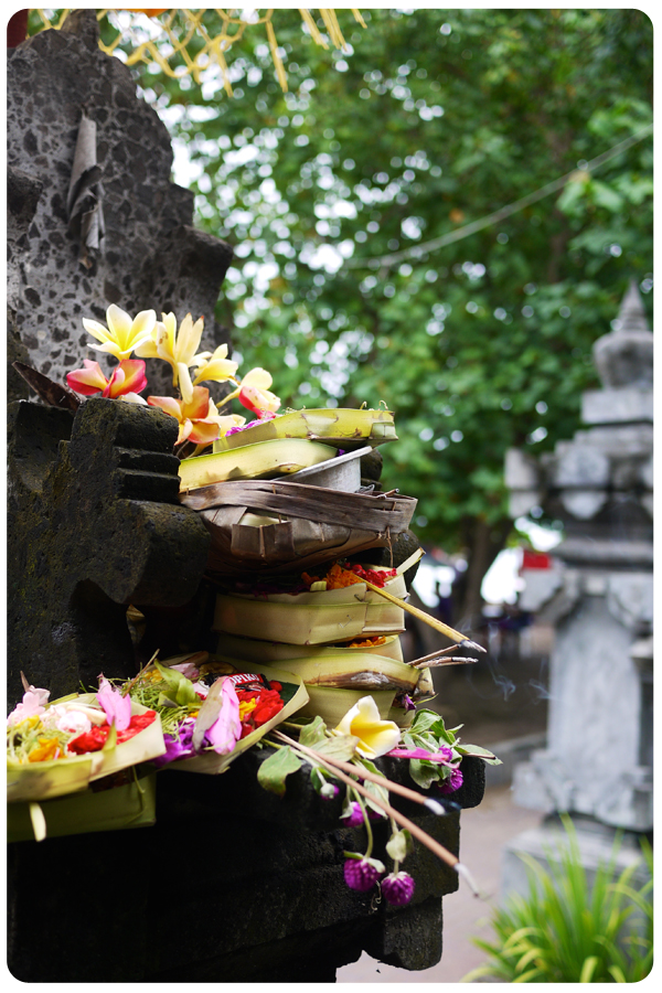 Balinese offerings on altar