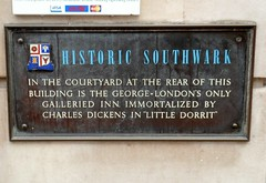 Photo of Charles Dickens and George Inn, Southwark bronze plaque