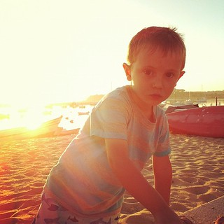 Playing on the beech before dinner