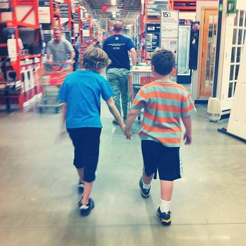 When our big boys misbehave we make them hold hands. Worst punishment EVER!!!!