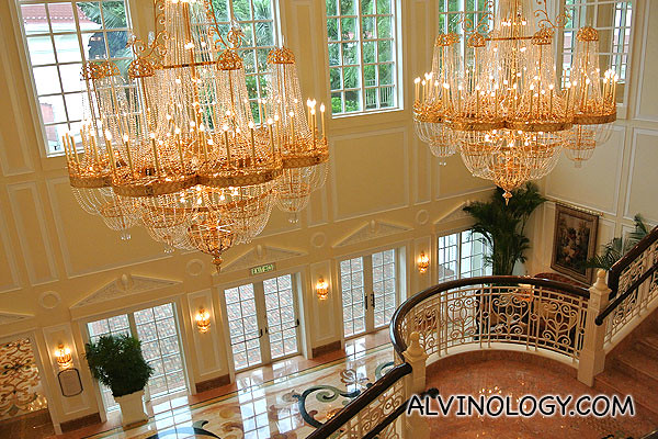 Giant chandeliers at Disneyland Hotel