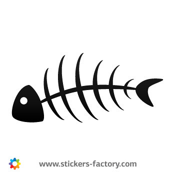 Stickers factory decal fish bones skull skeleton 05952 for Fish skeleton decal
