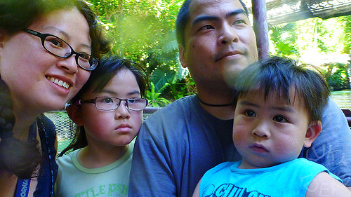 Us on the Jungle Cruise, also known as the only ride where we take a picture of all four of us together