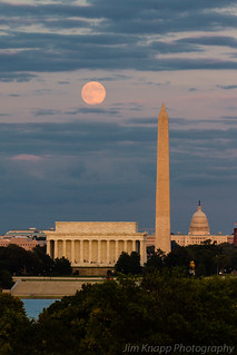 The Full Moon Rises Over Washington, DC