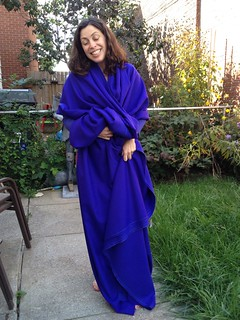 deliriously happy with my yardage of violet blue wool coating for Gertie's SAL