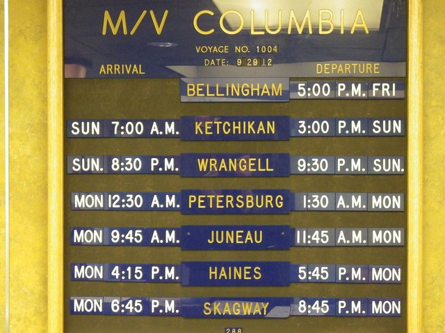 Alaska Marine Highway ferry schedule, MV Columbia
