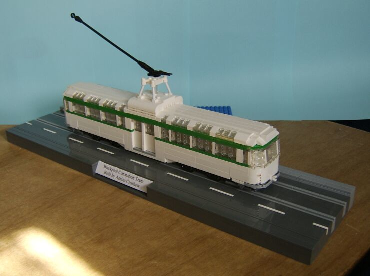 Overall view of a LEGO® model of a Blackpool Coronation tram