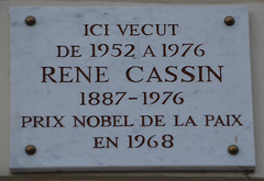 Photo of René Cassin white plaque