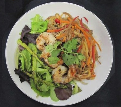 Cold Soba Noodle Salad with Shrimp and Asparagus