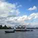 The Olympic rings on the Thames