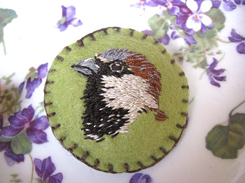 Sparrow Hand Embroidered Brooch by Handmade and Heritage