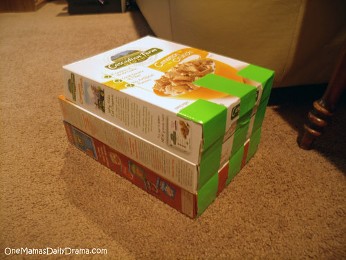 stacked cereal boxes