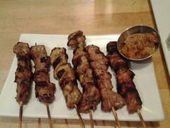 brochette(1.0), meat(1.0), food(1.0), dish(1.0), shashlik(1.0), yakitori(1.0), kebab(1.0), cuisine(1.0), souvlaki(1.0), skewer(1.0), satay(1.0), grilled food(1.0),