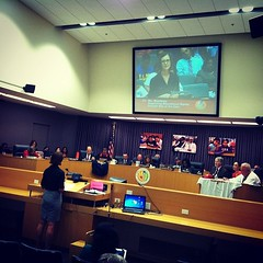 Photo: Danielle Brazell speaks at LAUSD Board of Ed meeting