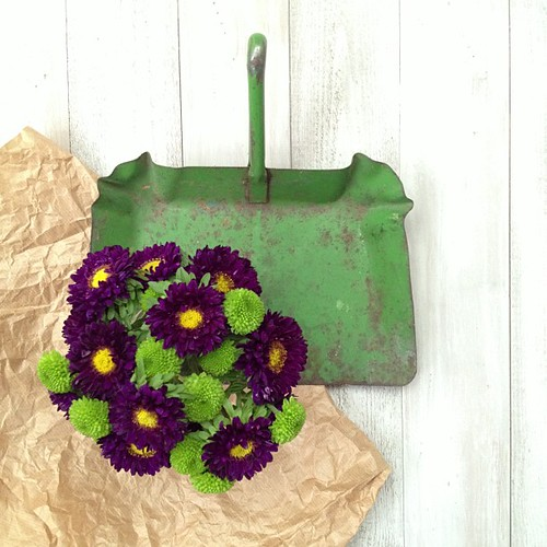 Chrysanthemums, dustpan and brown paper by Of Spring and Summer