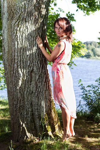 model woman dress nature trees tree water pink pinkdress outdoor