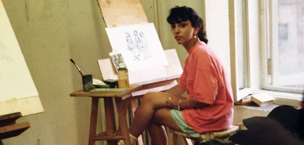 Susan Portman in Palazzo Massimo studio, summer 1988.  photo / Susan Portman Price (B.S. URS '90, M.R.P. '91)