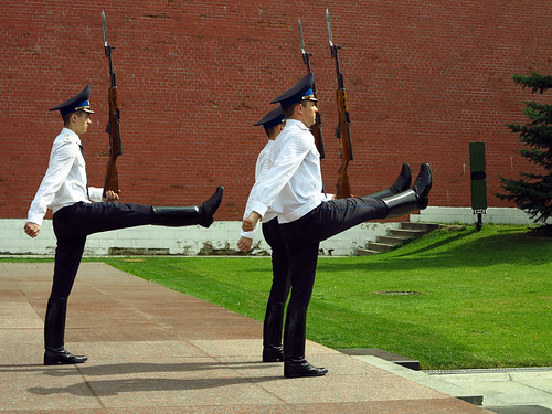 "Guards doing the ""Goose Step"" March"