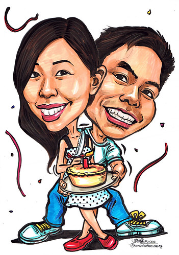 couple birthday caricatures