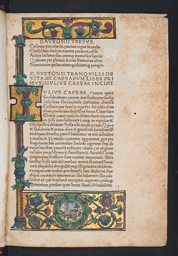 Illuminated and decorated border in Suetonius Tranquillus, Gaius: Vitae XII Caesarum
