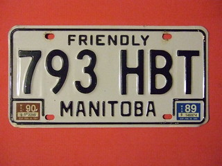 MANITOBA 1989-90 ---LICENSE PLATE #793 HBT