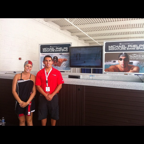 EmmeGirls swimmer models at The Venetian Las Vegas trade show with Michael Phelps lead instructor Solomon Sniad