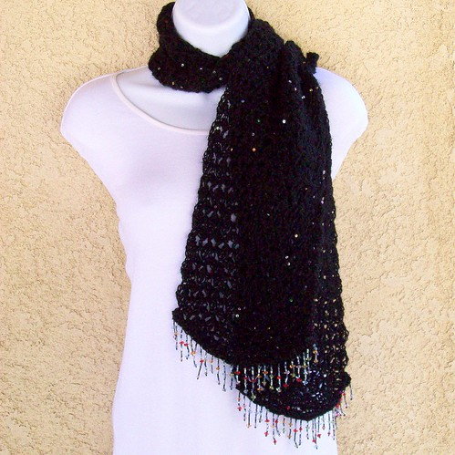 Scarf Black sequin crochet bead fringe 091212-001