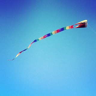 There were big kites flying in town today, so the kids and I stopped to watch for a bit after soccer.