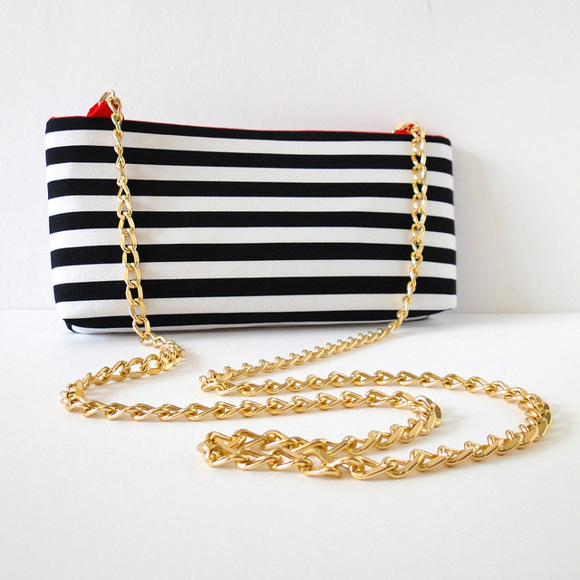Striped Crossbody Clutch