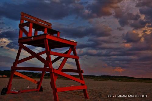 Gloucester At Dawn Good Harbor Beach Life Guard Chair 6:34AM 9/15/12 by captjoe06